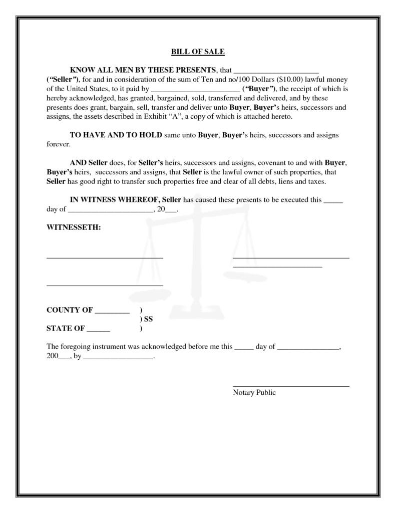 Bill Of Sale Personal Property Template and Bill Of Sale Template Sample for Personal Property and Business