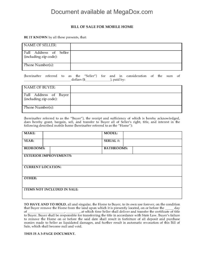 Bill Of Sale Template Alberta and Georgia Bill Of Sale for Mobile Home Legal forms and Business