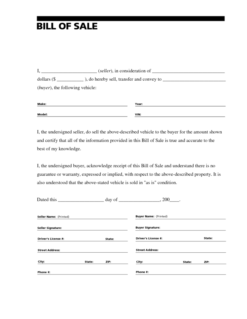 Bill Of Sale Template as is and Printable Sample Free Car Bill Of Sale Template form Laywers