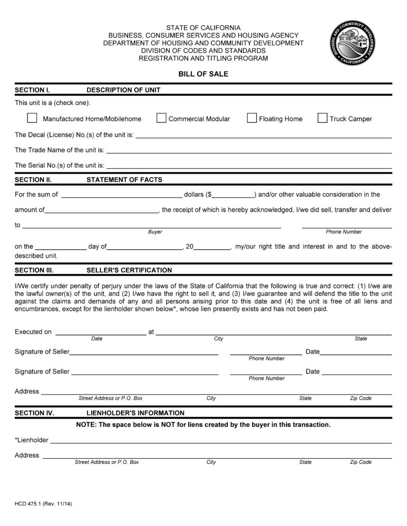 Bill Of Sale Template California and Free California Mobile Home Bill Of Sale form Pdf Docx