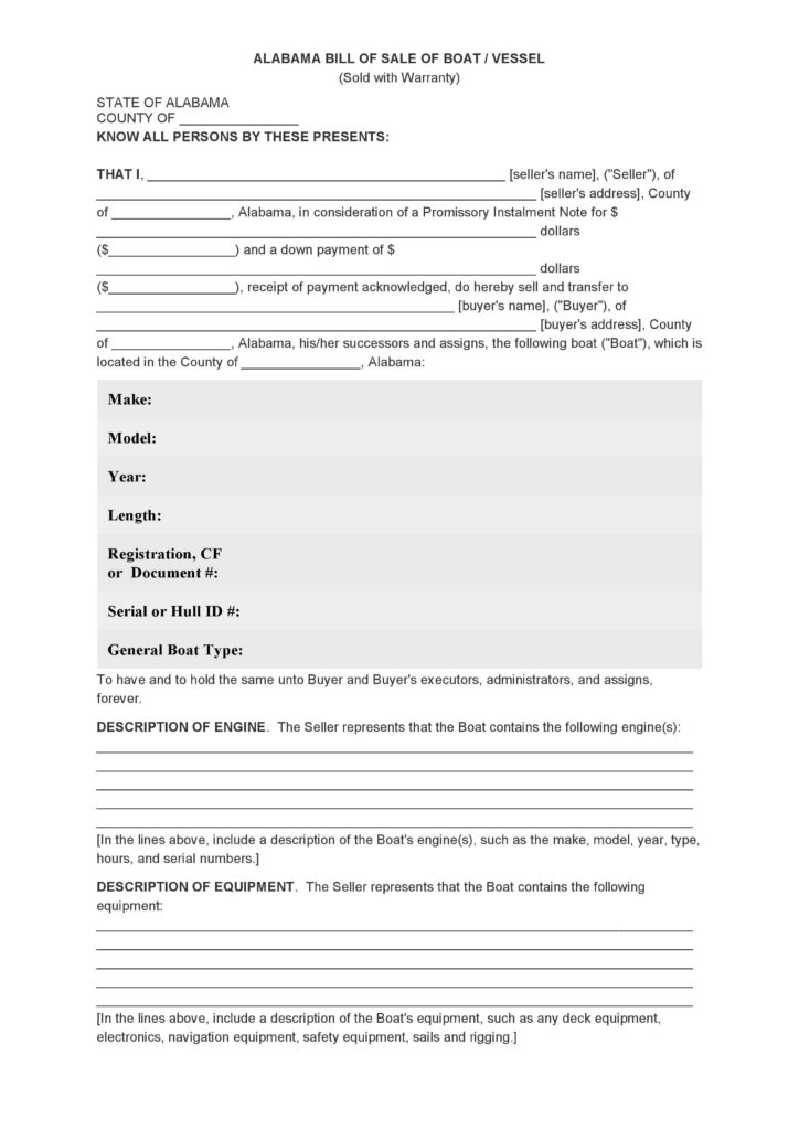 Bill Of Sale Template for A Boat and Free Alabama Bill Of Sale Of Boat Vessel form Pdf