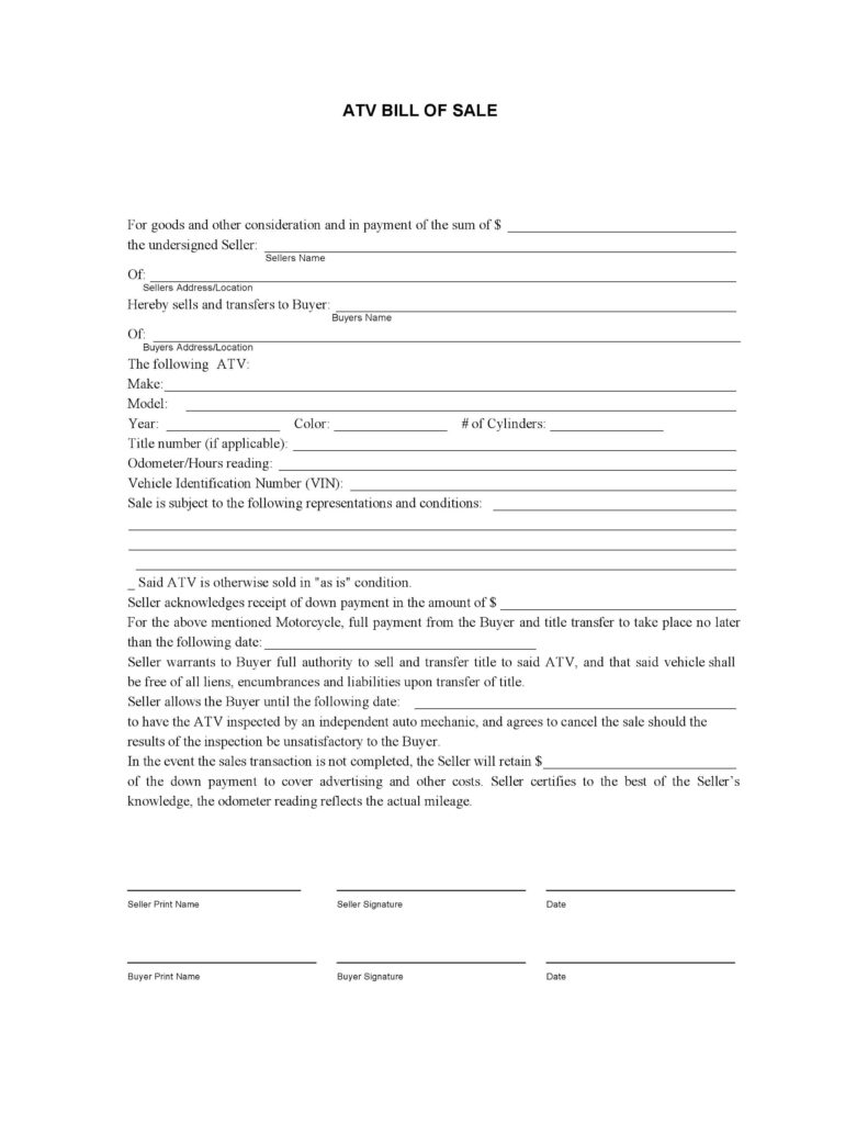Bill Of Sale Template for atv and Free atv Bill Of Sale form Pdf Docx