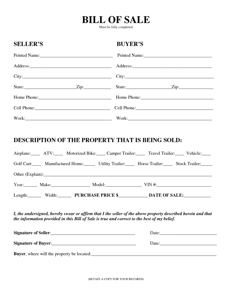 Bill Of Sell Template and Free Printable Equipment Bill Of Sale Template form Generic