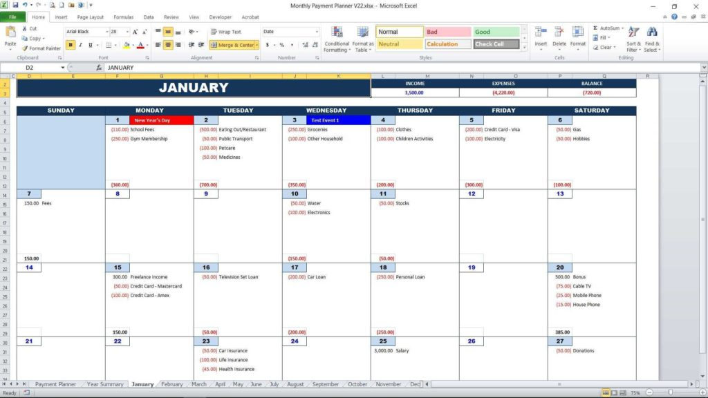 Bill Pay Calendar Template Free and Bill Payment Calendar Excel Templates