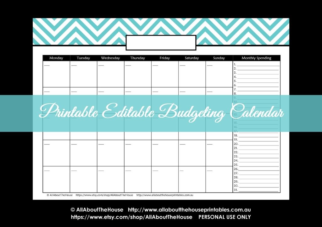 Bill Pay Calendar Template Free and Bud and Bill Pay Calendar Spending Chevron Letter Size Bud