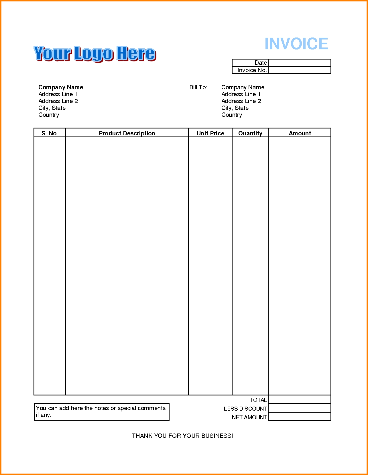 Billing Invoice Template Pdf and Billing Invoice Template for Excel Firmsinjafo