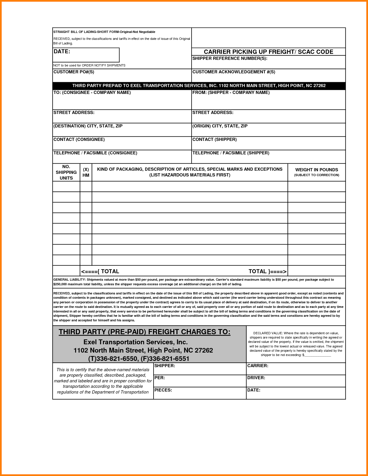 Blank Bill Of Lading Template and 4 Blank Bill Of Lading Short form Template Simple Bill