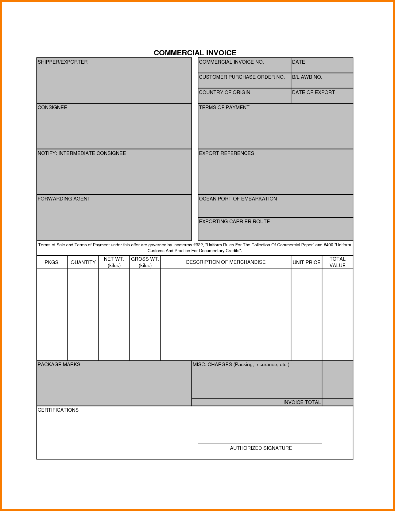 Blank Commercial Invoice Template and 5 Mercial Invoice Template Receipt Templates