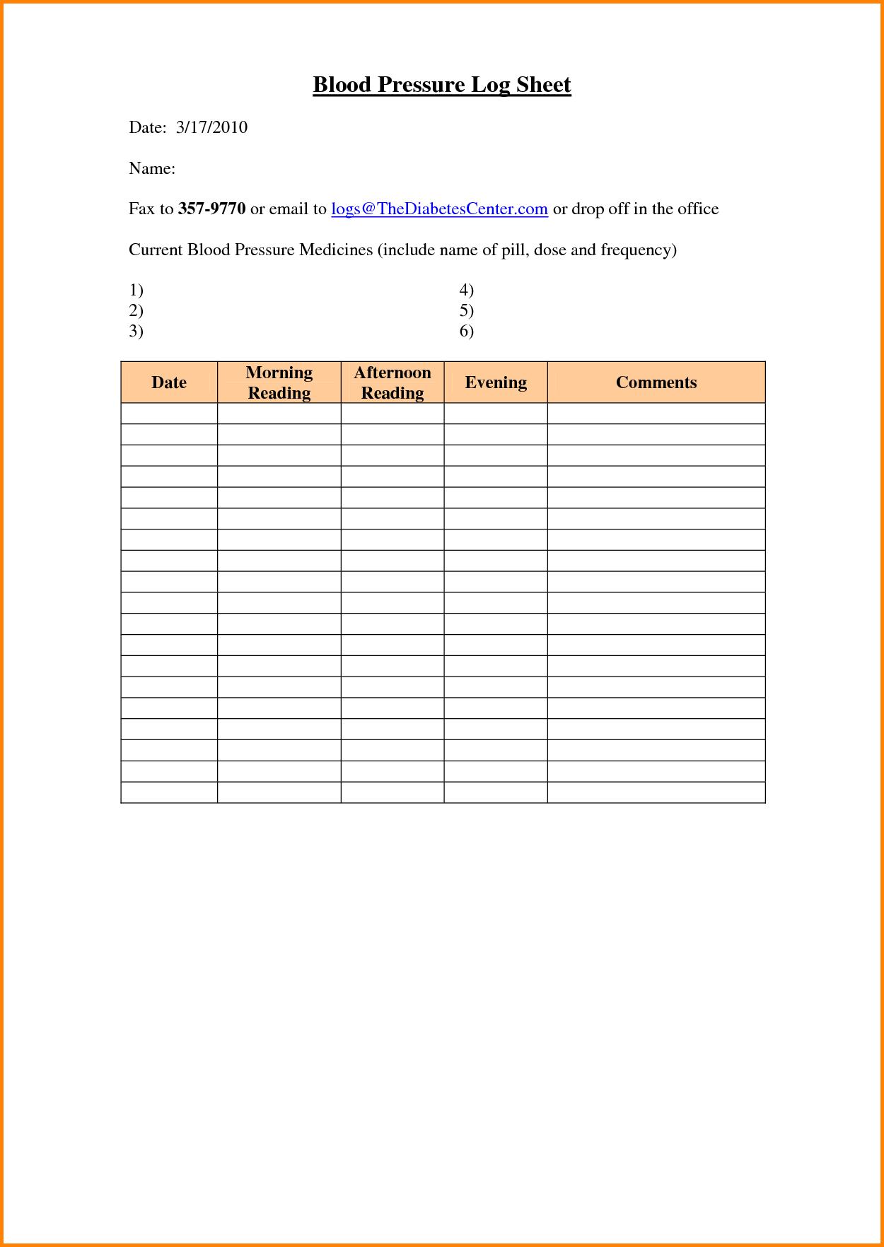 Blood Sugar Spreadsheet and 8 Blood Sugar Log Sheets Memo Templates