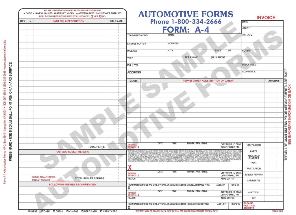Body Shop Estimate Template and Body Shop forms