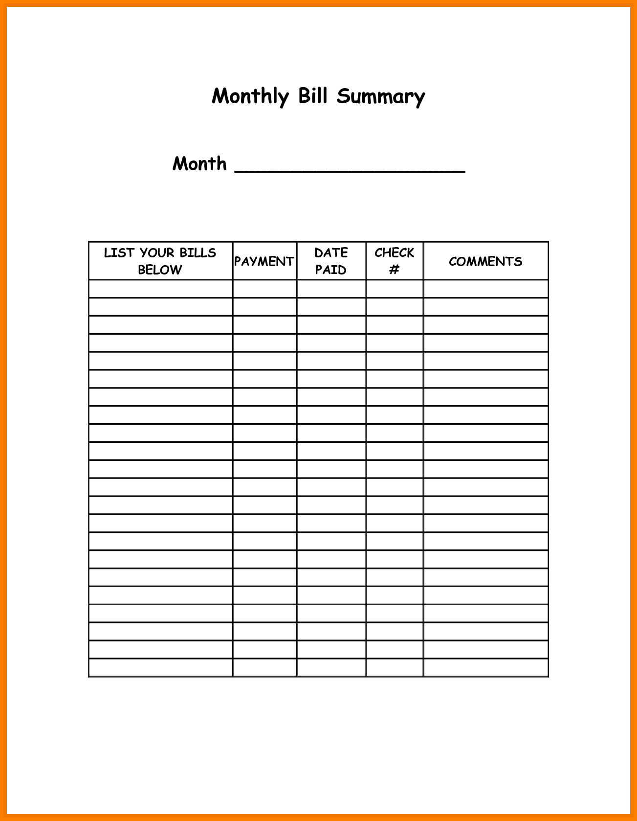 Budget Bills Template and Monthly Bills Template Monthly Bills Template