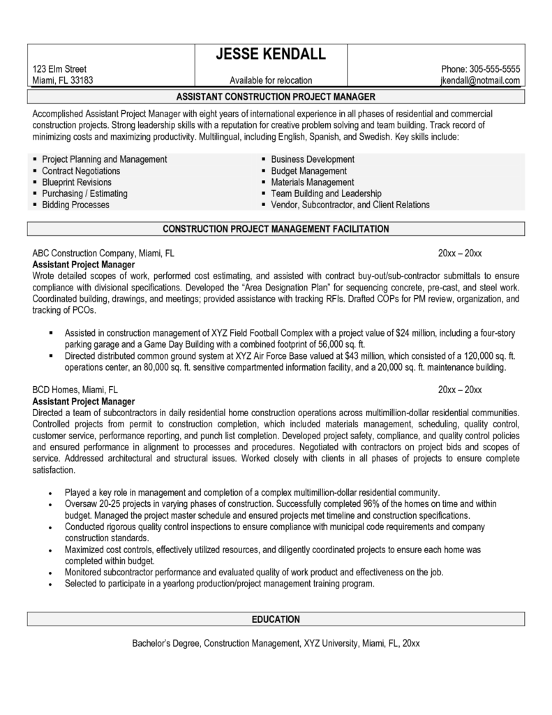 Building Construction Estimate Sample and Construction Manager Resume Sample Site Superintendent Resume