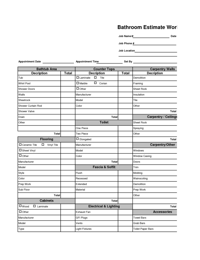 Building Cost Estimator Spreadsheet and Home Remodeling Cost Estimator Bathroom Remodel Estimate Bathroom