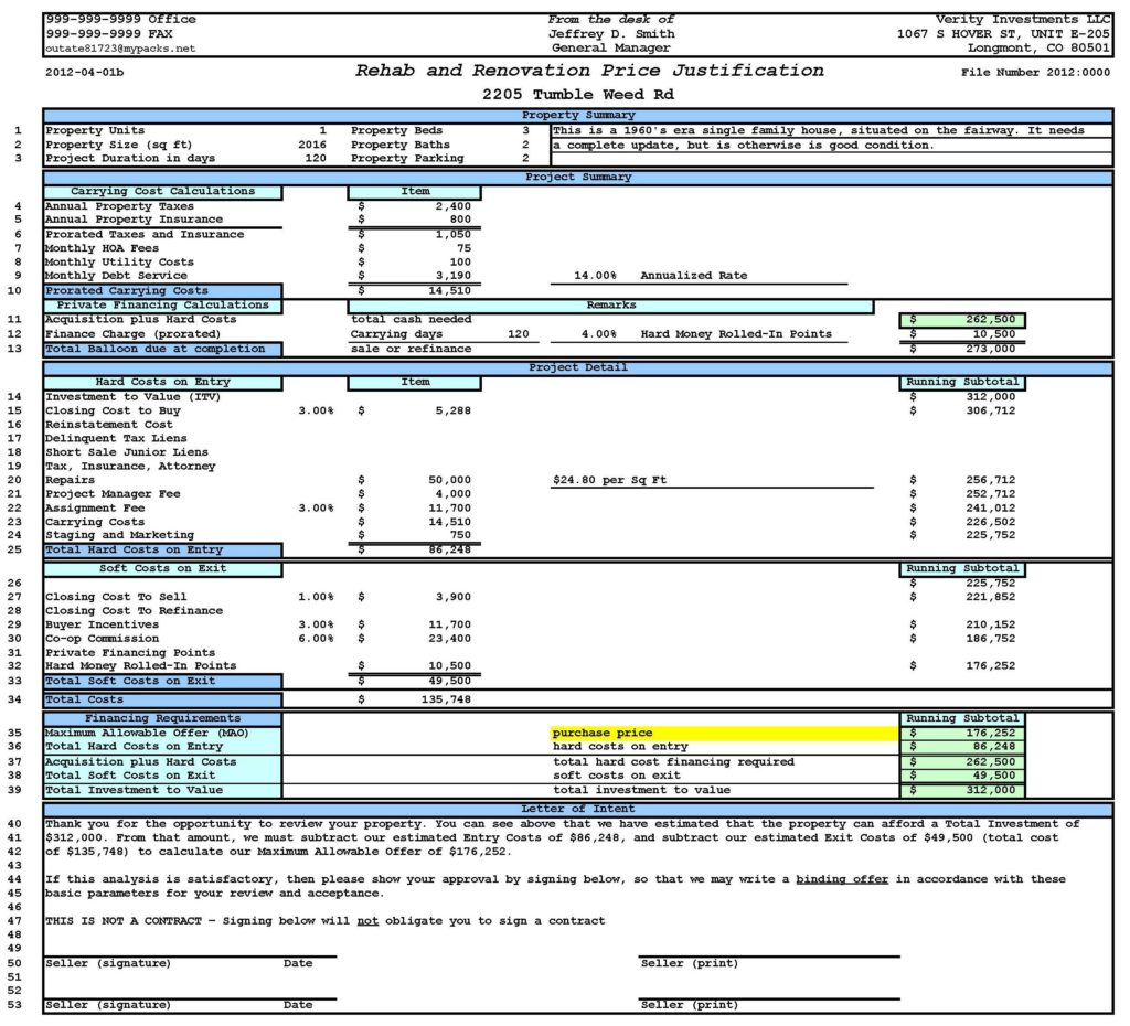 Building Cost Estimator Spreadsheet and Property Analysis Worksheet Short form Ultimate Bargains Llc A