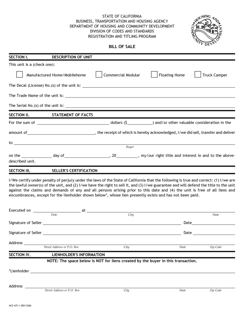 Camper Bill Of Sale Template and Printable Sample Bill Of Sale Camper form Legal forms Online