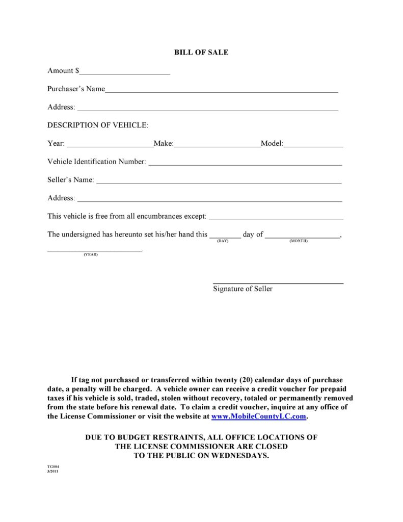 Car Bill Of Sale Word Template and Free Mobile County Alabama Motor Vehicle Bill Of Sale form Tg004