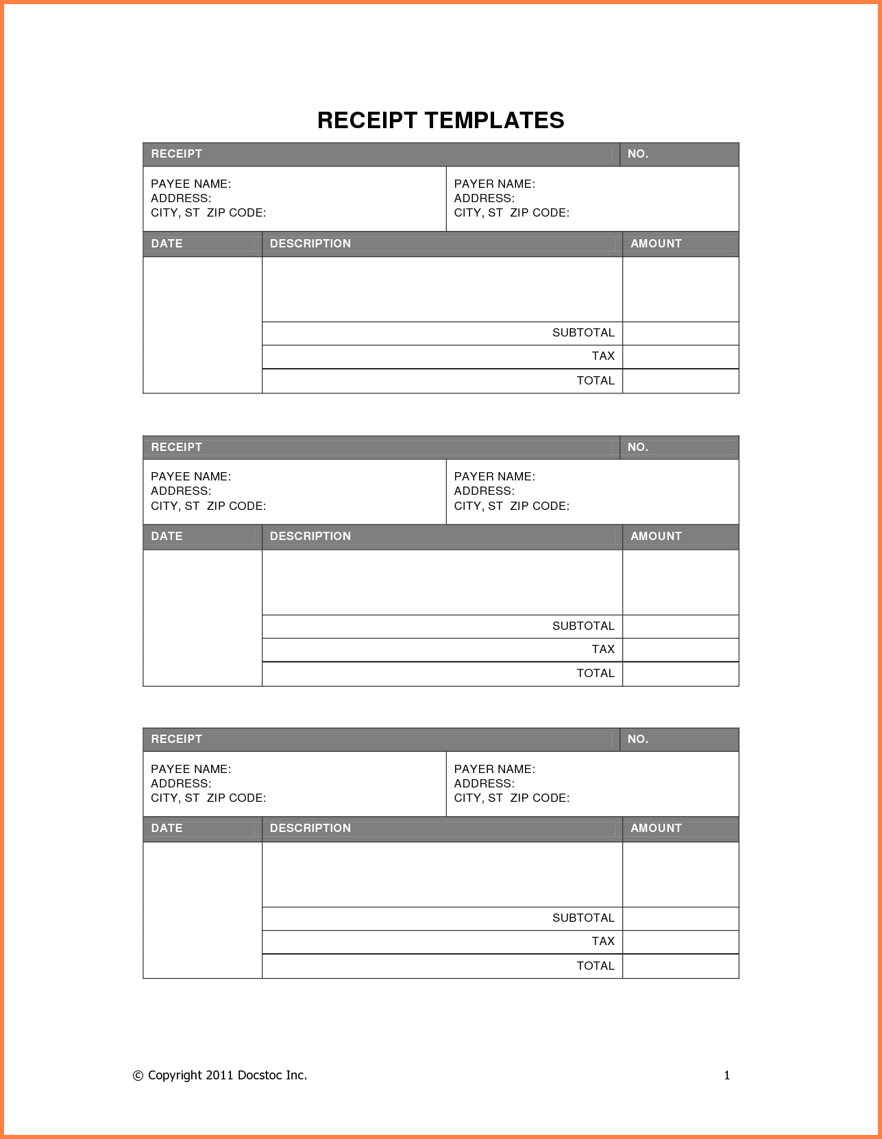 Cash Bill Template and 8 Blank Receipt Template Sales Report Template