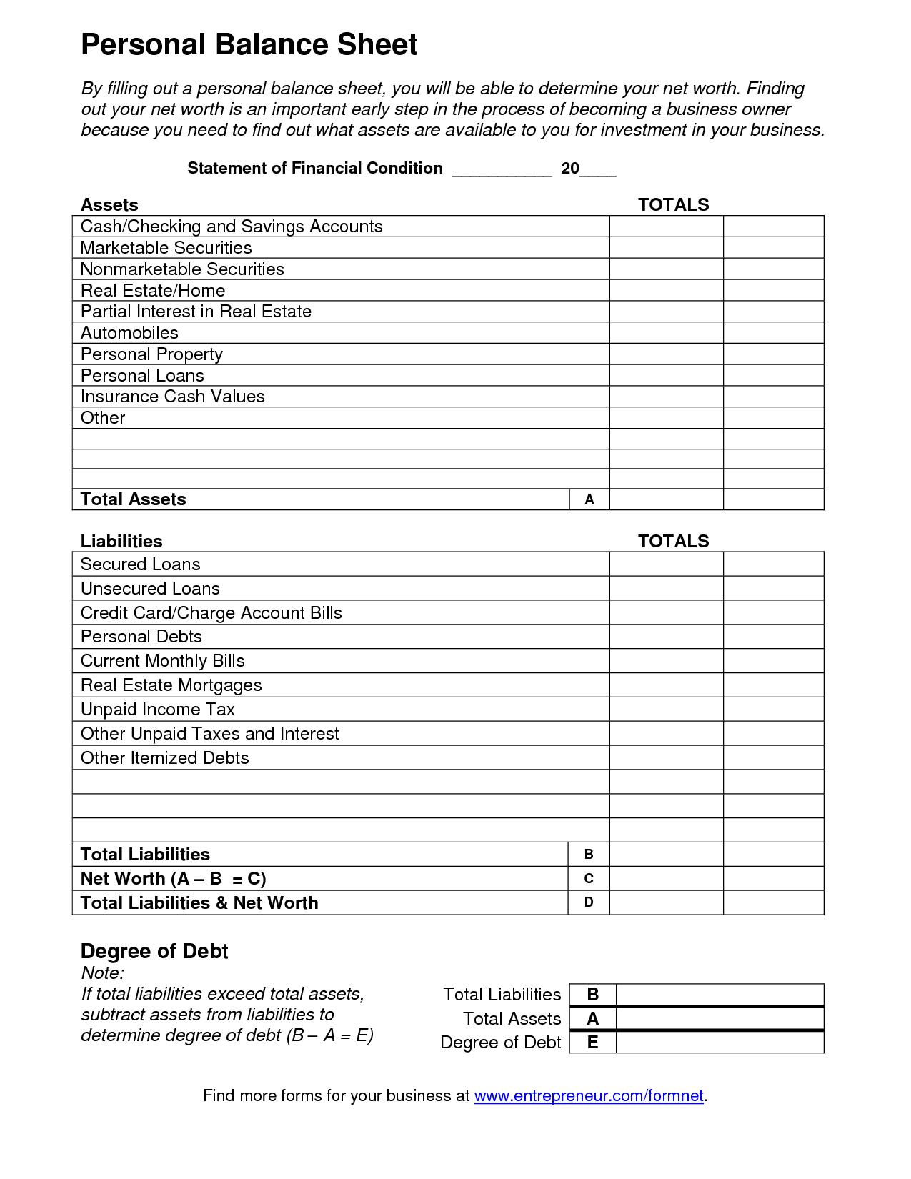 Cash Register Balance Sheet Template and Blank Balance Sheet Template Selimtd
