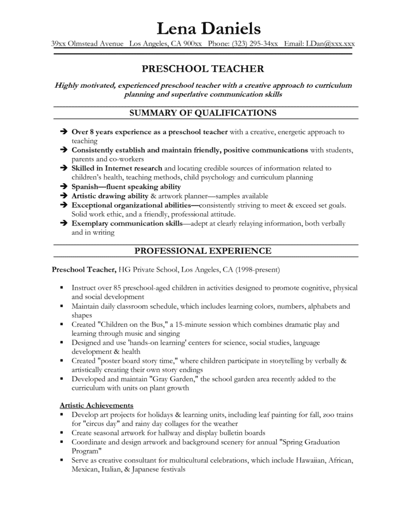 Child Care Philosophy Statement Samples and Preschool Teacher Resume Template O
