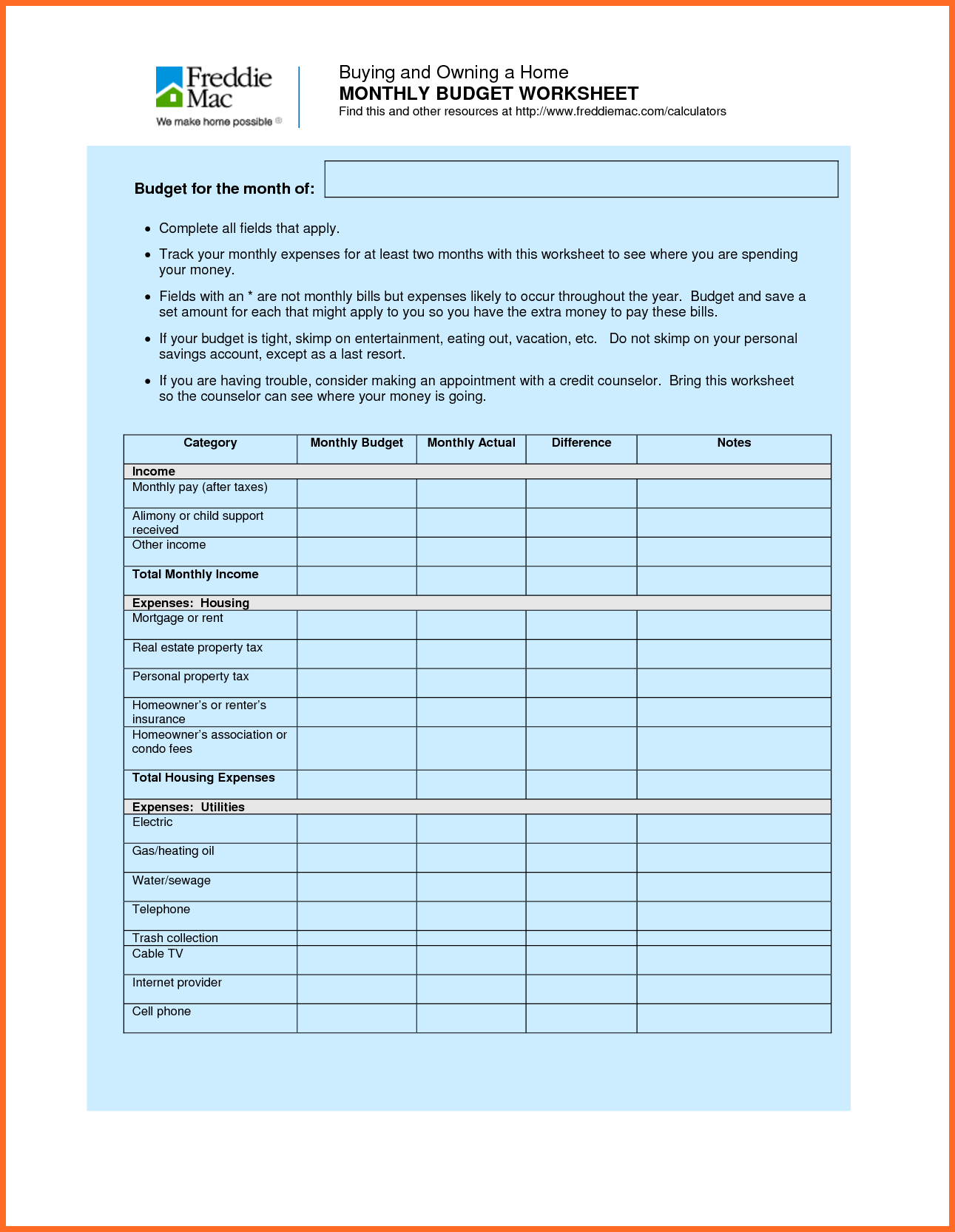 Church Budget Spreadsheet and Family Bud Worksheet soap format