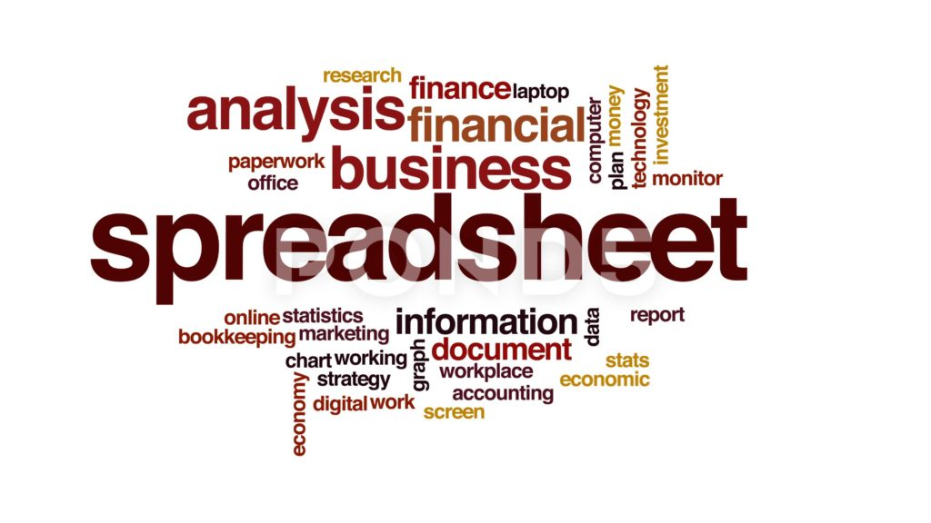 Cloud Spreadsheet and Spreadsheet Animated Word Cloud Text Design Animation Clip