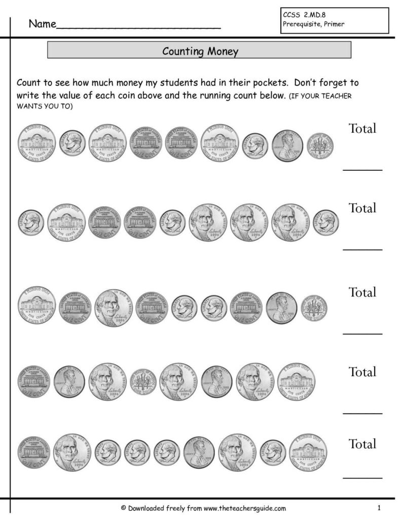 Coin Values Worksheet and Counting Coins Worksheets From the Teacher S Guide