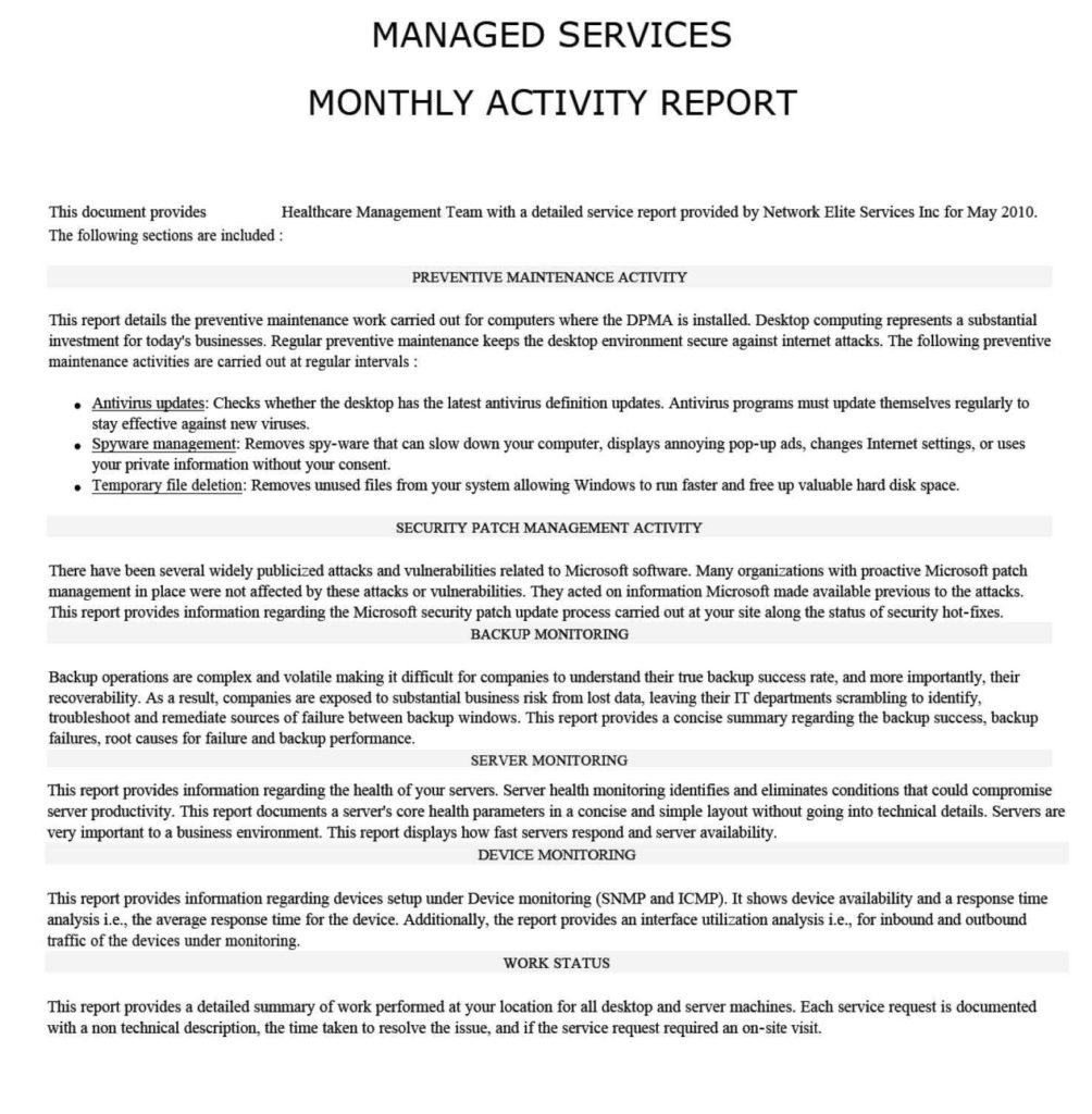 Computer Security Incident Report Template and Managed It Report Samples Network Elites Texas