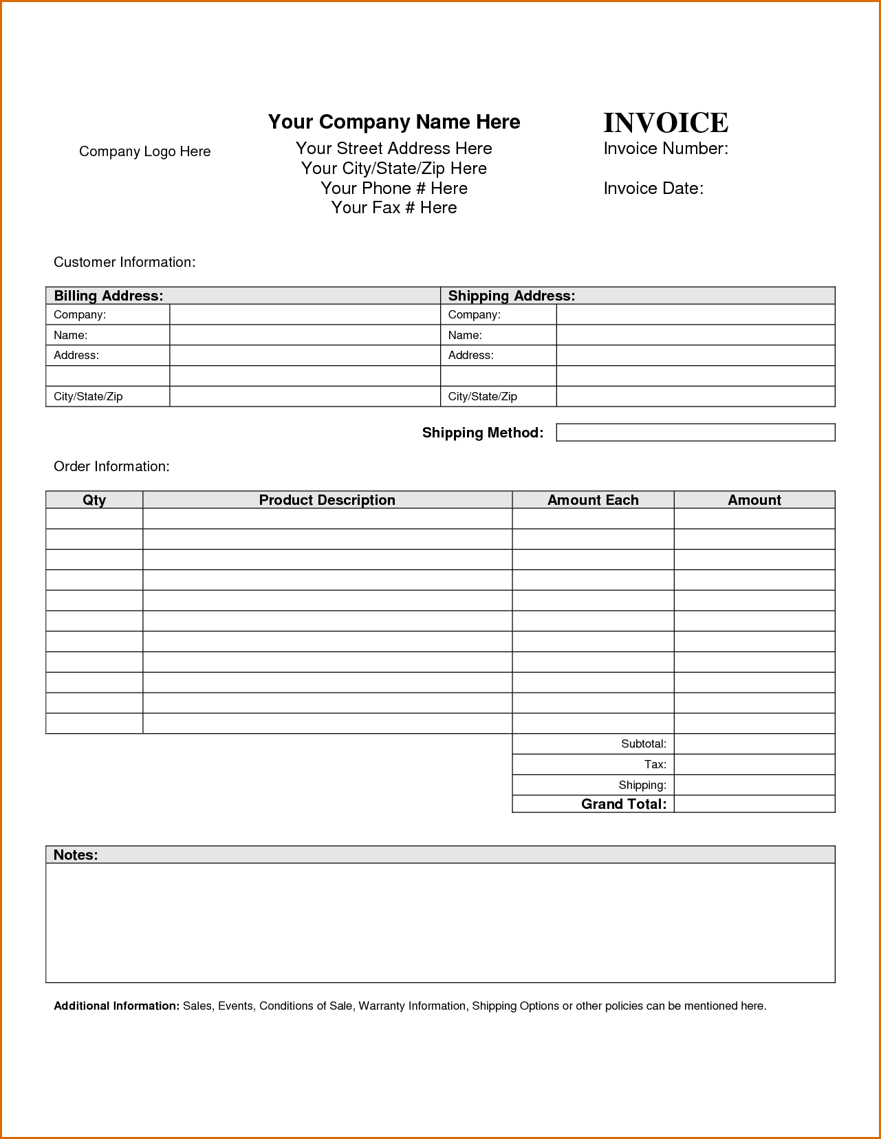 Construction Invoice Template Pdf and Parts Labor Invoice Template Free Rabitah