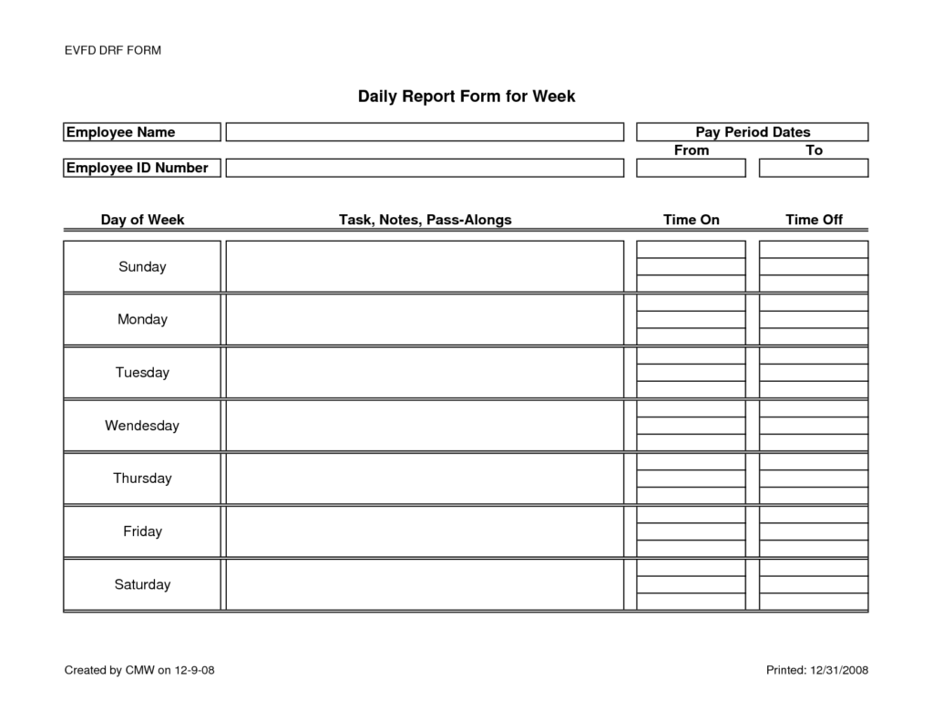 Construction Project Progress Report Template and Daily Activity Report Template Word
