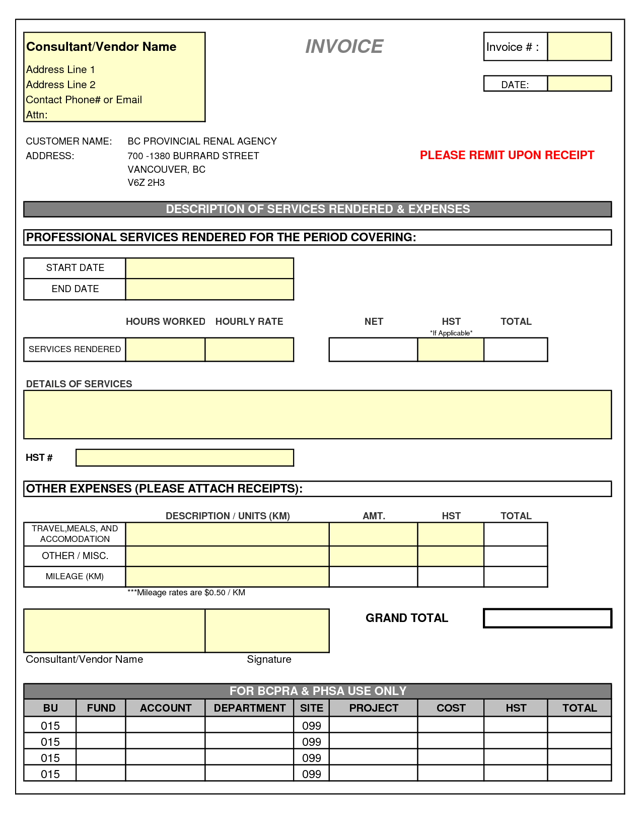 Contractor Invoice Template Pdf and Consulting Invoice Template Excel Invoice Example