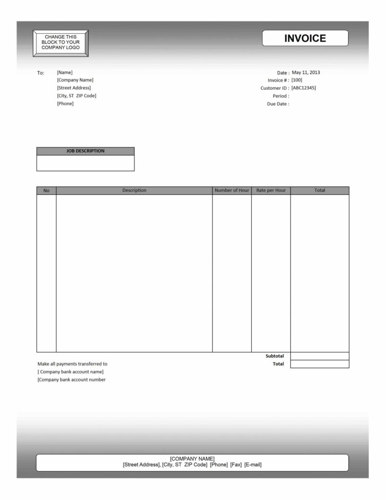 Contractor Invoices Templates and Ms Excel Invoice Template Blank Billing Invoice Template Free
