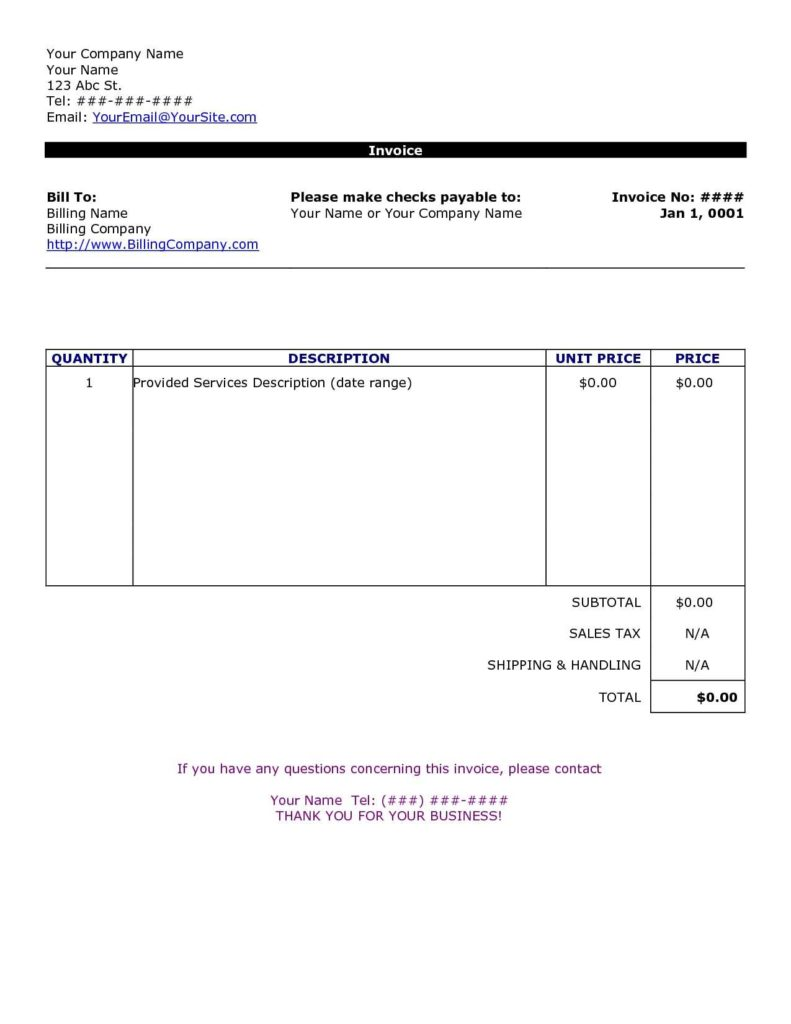 Copy Of Invoice Template and Word Document Invoice Template Invoice Example