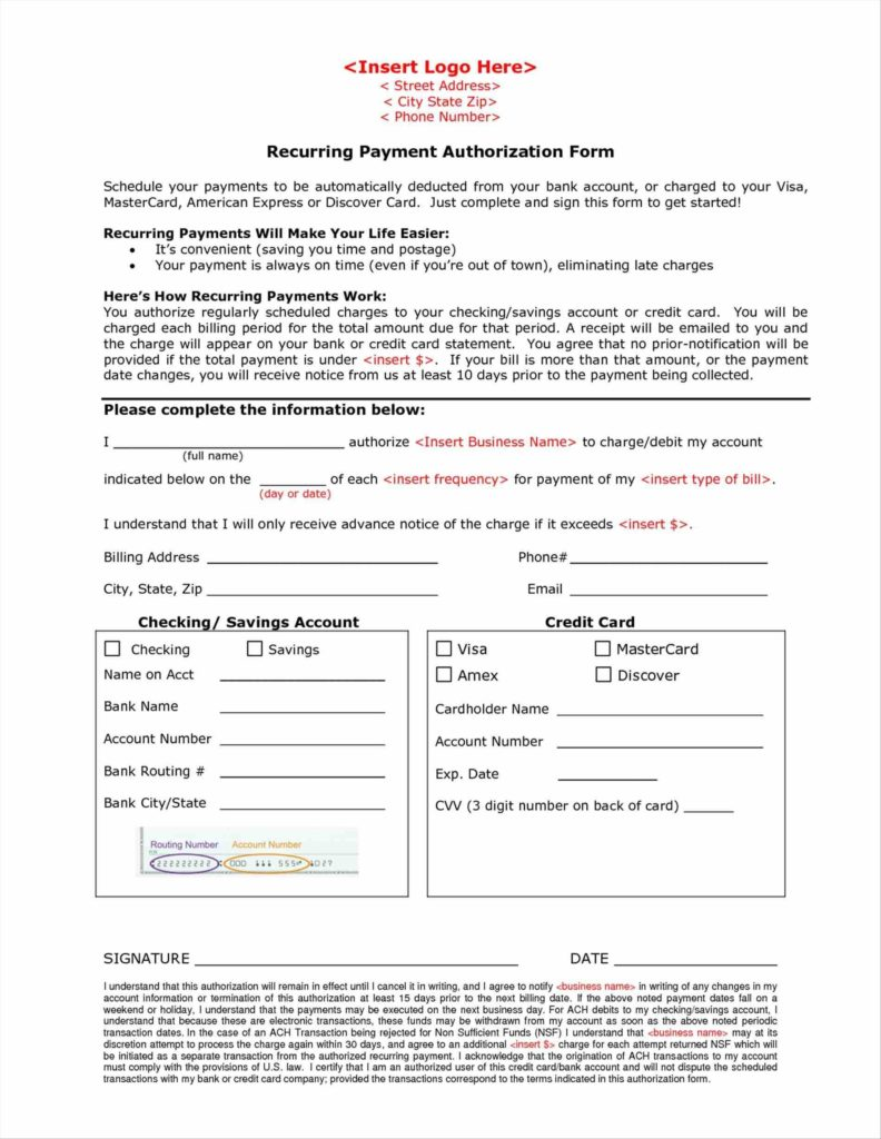 Credit Card Billing Authorization form Template and Contactus Info Credit Card Authorization form formats Examples In