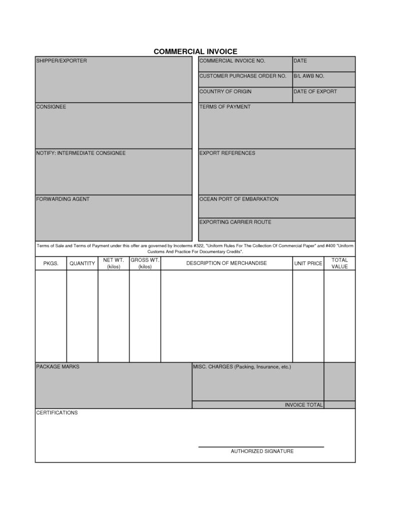 Customs Invoice Template and Dhl Mercial Invoice Template Uk Rabitah