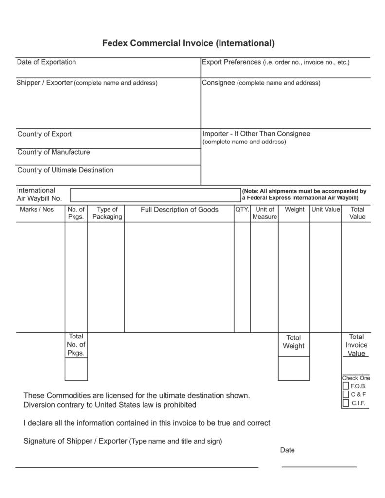 Customs Invoice Template and International Mercial Invoice Template Invoice Example