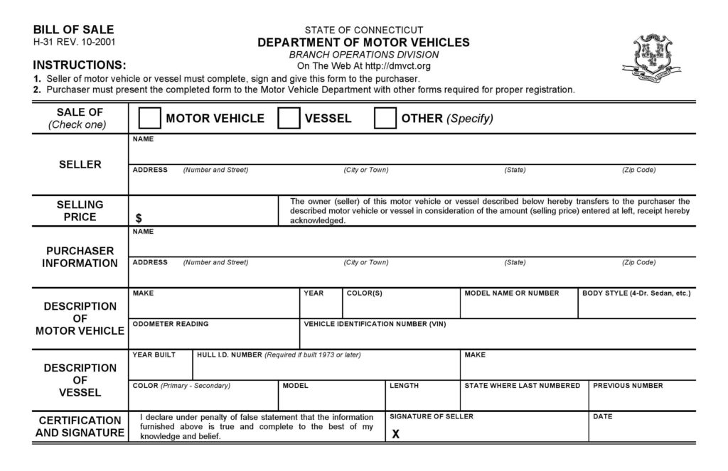 Dealer Bill Of Sale Template and Free Connecticut Dmv Bill Of Sale form Pdf Docx