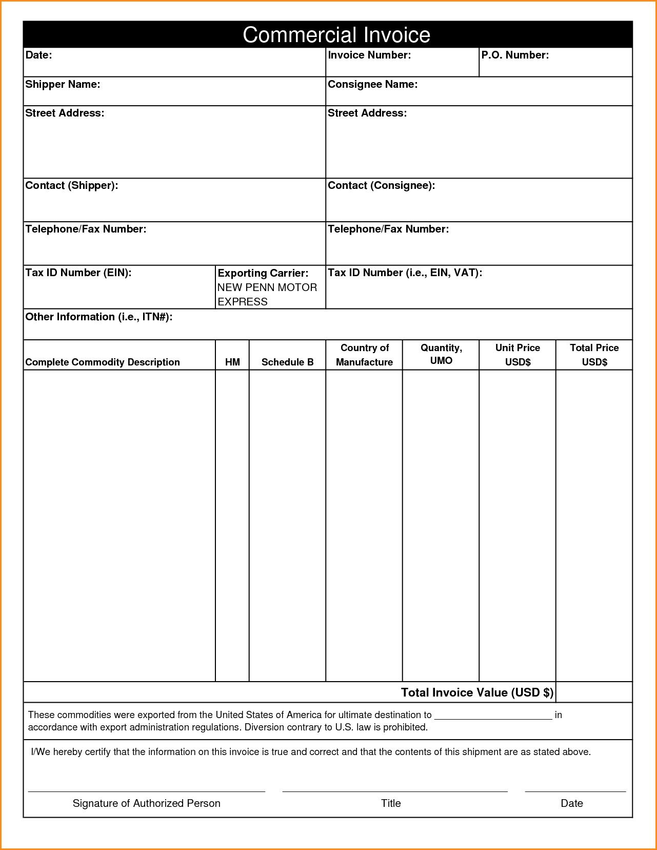 Downloadable Invoice Template and 11 Mercial Invoice Templates Free Documents In Word