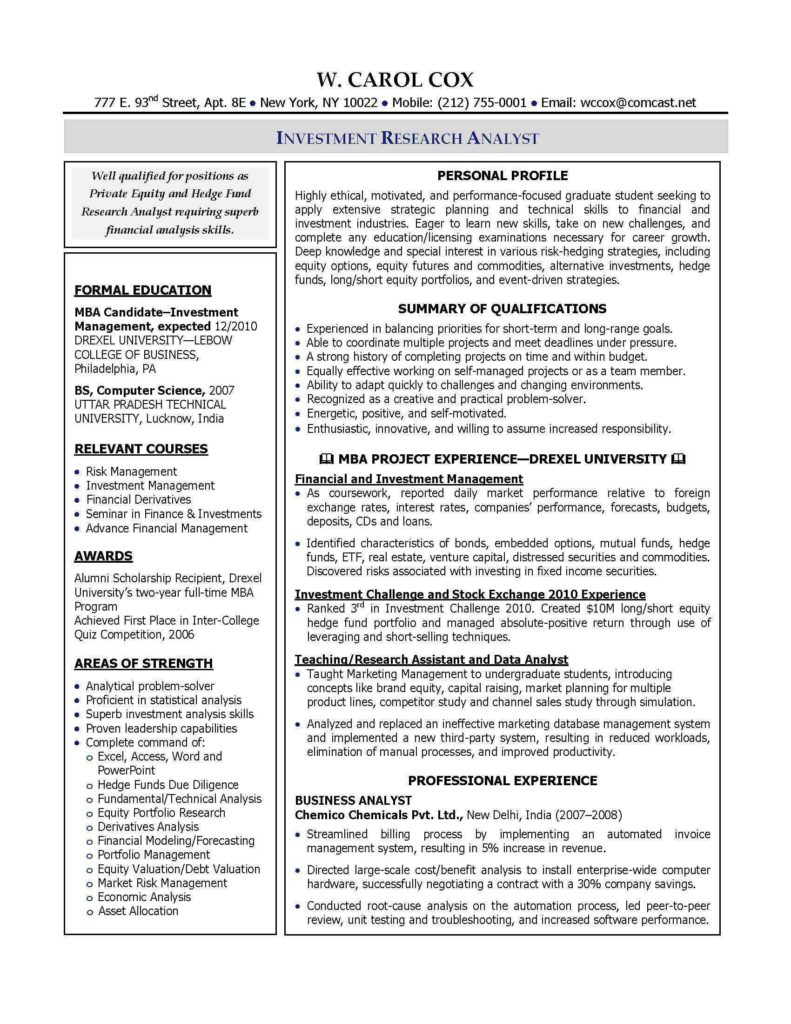 Due Diligence Report Example and 100 Resume Tips Consulting Management Consulting Resume