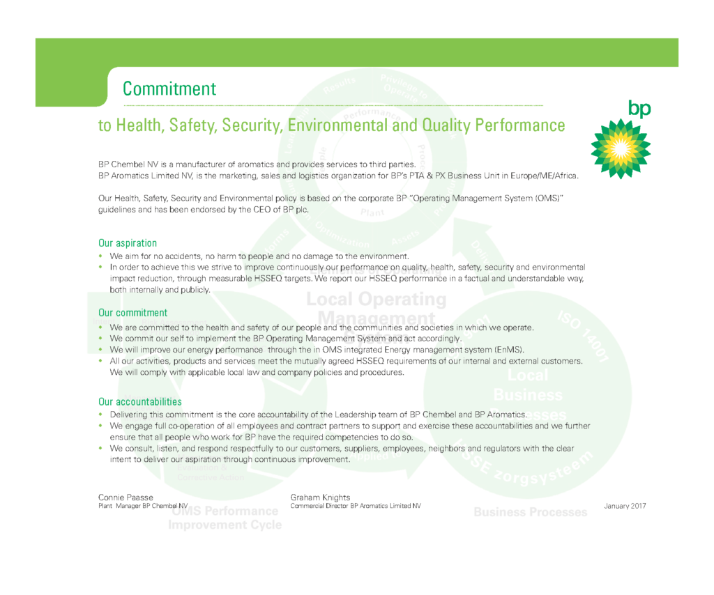 Ehs Policy Statement Example and Hseq Policy Statement Health Safety Security the Environment