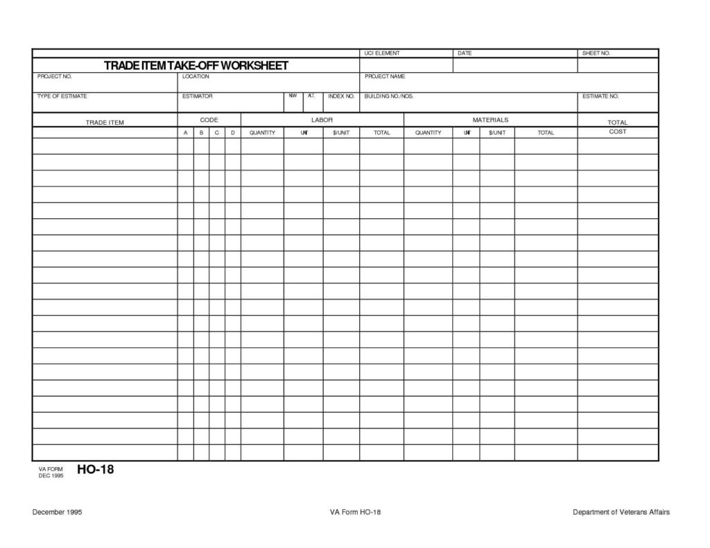 Estimate Sheet Templates Free and Detailed Construction Cost Estimate Spreadsheet Laobingkaisuo