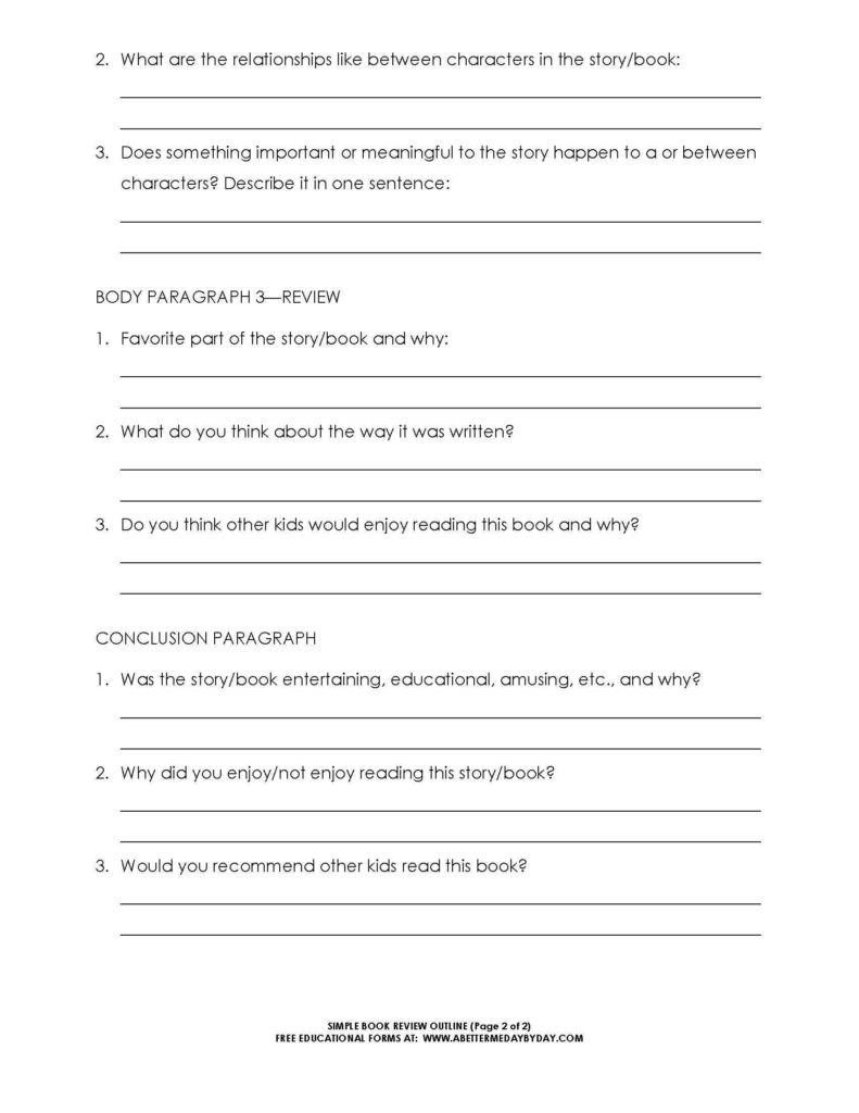 Example Of Book Report Story and Free Simple 5 Paragraph Book Review or Report Outline form Book