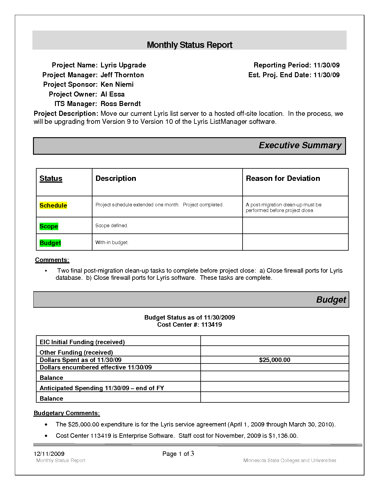 Example Of Project Status Report and Project Monthly Status Report Template Example Helloalive