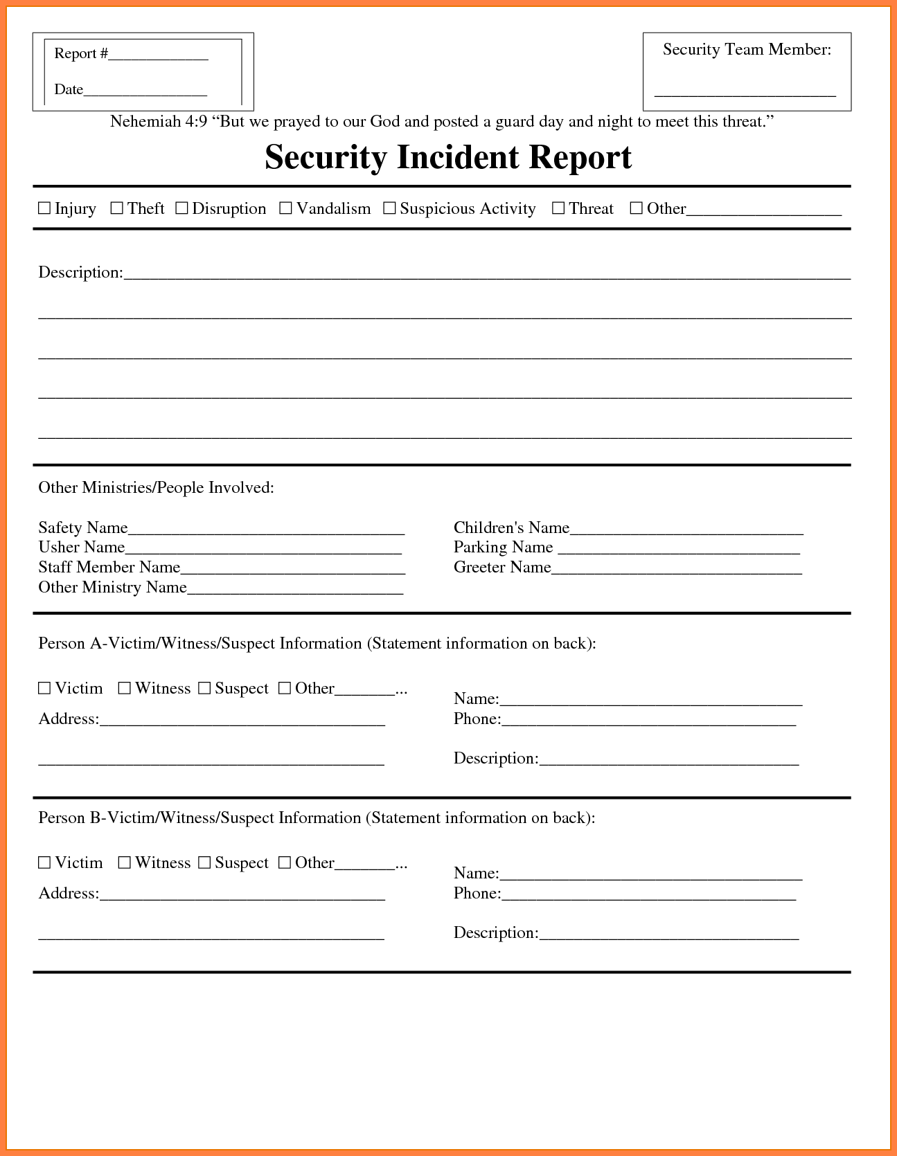 Example Of Security Guard Report Writing and 7 Security Incident Report Template Invoice Example 2017