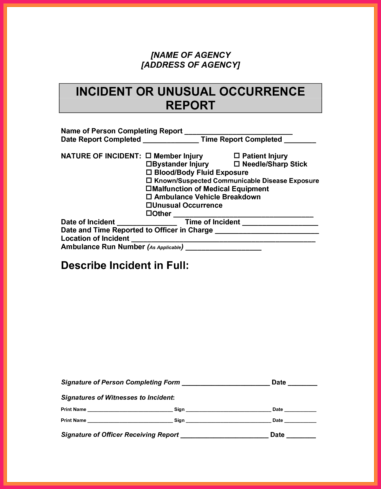 Examples Of An Incident Report and Example Of Incident Report Bio Letter format