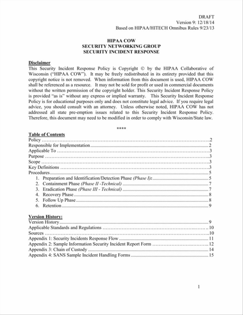 Examples Of An Incident Report and Examples It Security Incident Response Plan Template Incident