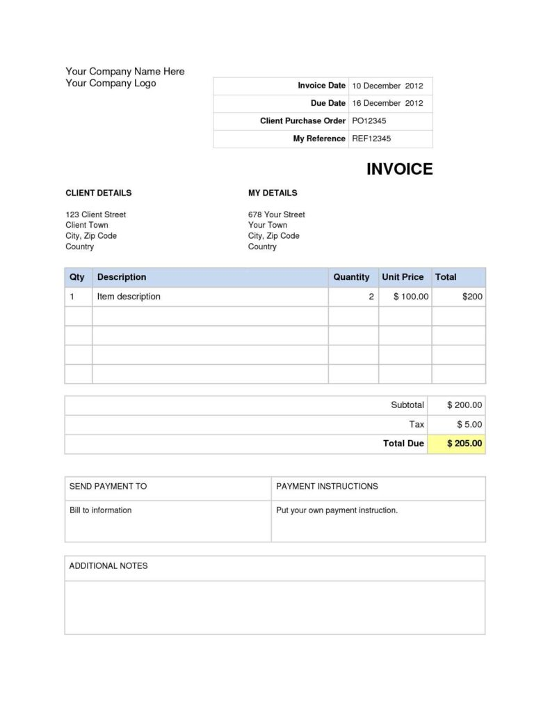Examples Of Billing Invoices and Invoice Template Word 2007 Invoice Example