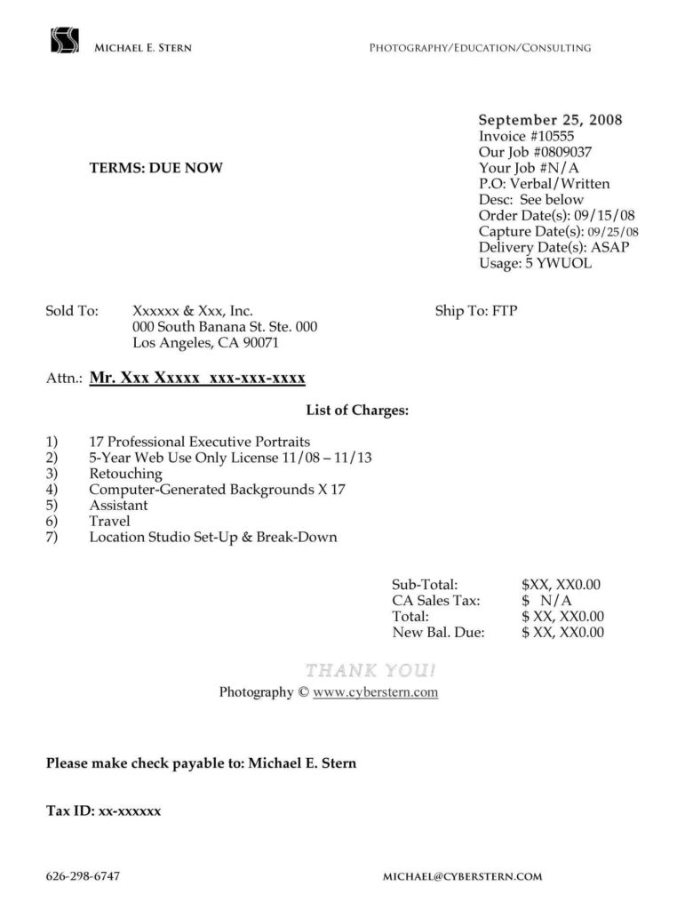Examples Of Invoice Templates and Invoice Sample Self Employed Free Invoice Template