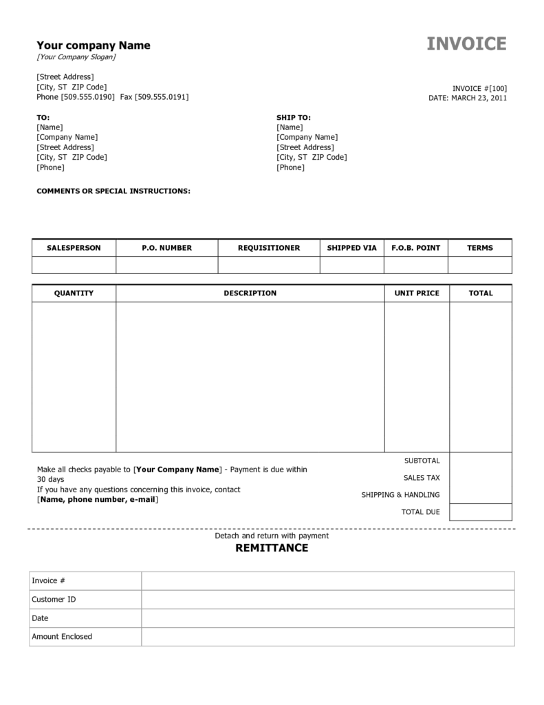 Examples Of Invoice Templates and Simple Invoice Template Free to Do List