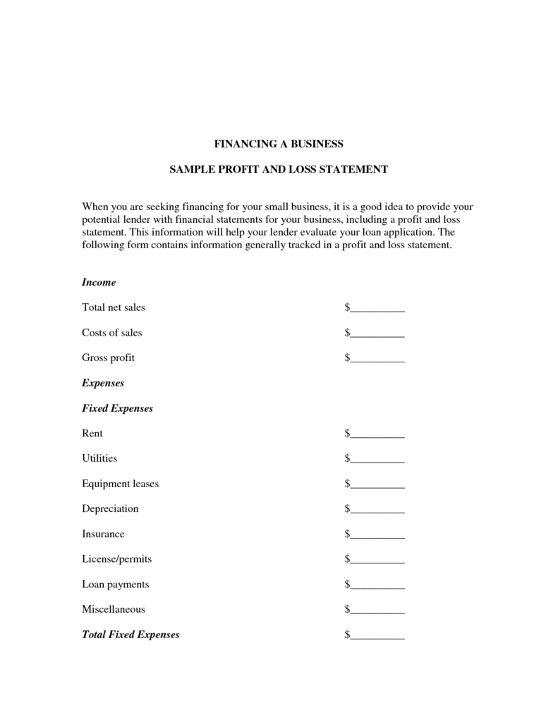 Examples Of Profit and Loss Statements and Business Profit and Loss Statement Template and form Sample