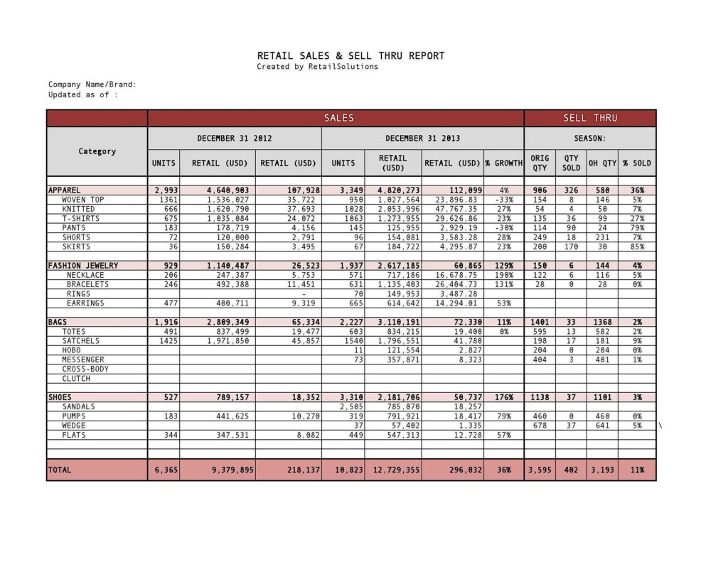 Examples Of Sales Reports and Retail Sales and Sell Through Report Created Template Showing